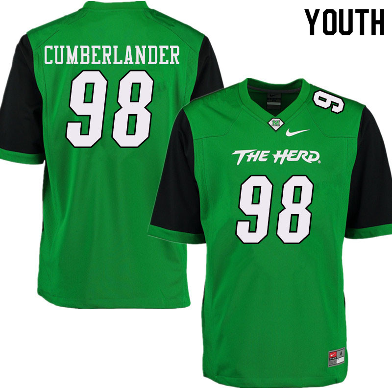 Youth #98 Koby Cumberlander Marshall Thundering Herd College Football Jerseys Sale-Green