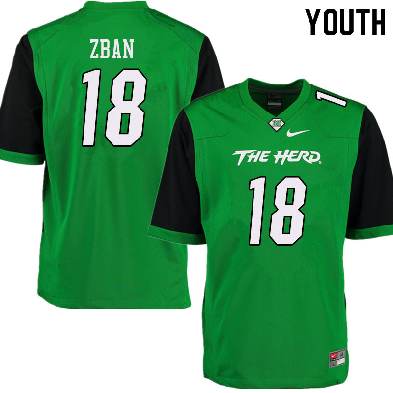 Youth #18 Luke Zban Marshall Thundering Herd College Football Jerseys Sale-Green
