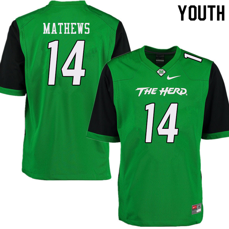 Youth #14 Nick Mathews Marshall Thundering Herd College Football Jerseys Sale-Green