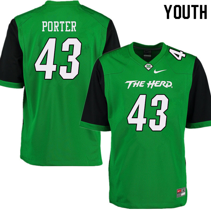 Youth #43 Owen Porter Marshall Thundering Herd College Football Jerseys Sale-Green