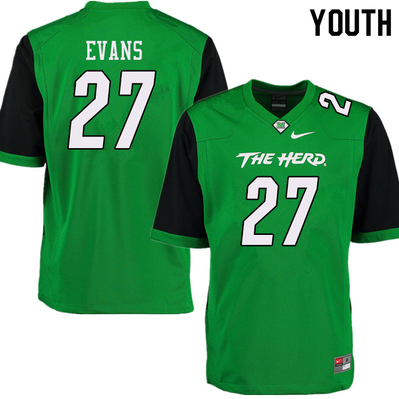 Youth #27 Sheldon Evans Marshall Thundering Herd College Football Jerseys Sale-Green