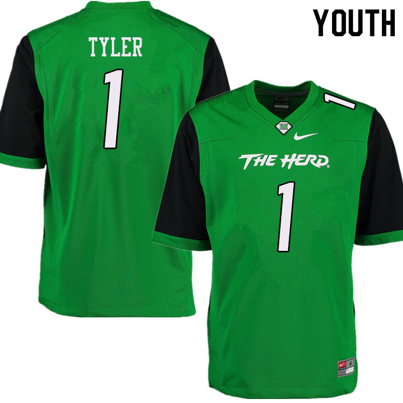 Youth #1 Ty Tyler Marshall Thundering Herd College Football Jerseys Sale-Green