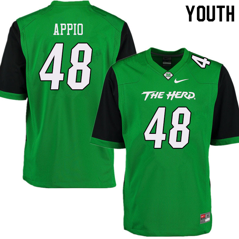 Youth #48 Zach Appio Marshall Thundering Herd College Football Jerseys Sale-Green