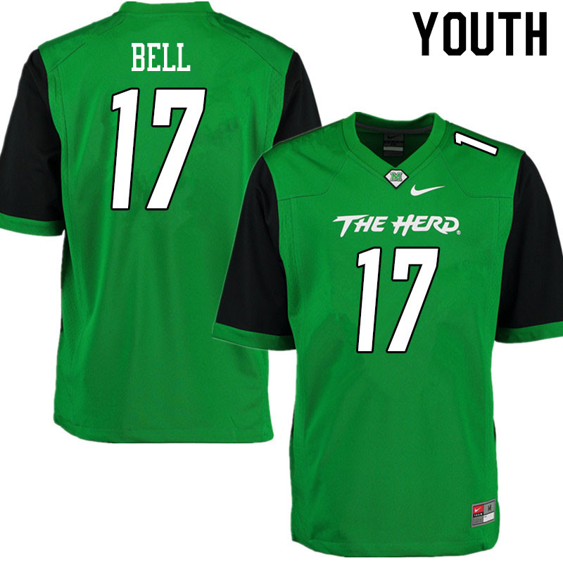 Youth #17 Charles Bell Marshall Thundering Herd College Football Jerseys Sale-Gren