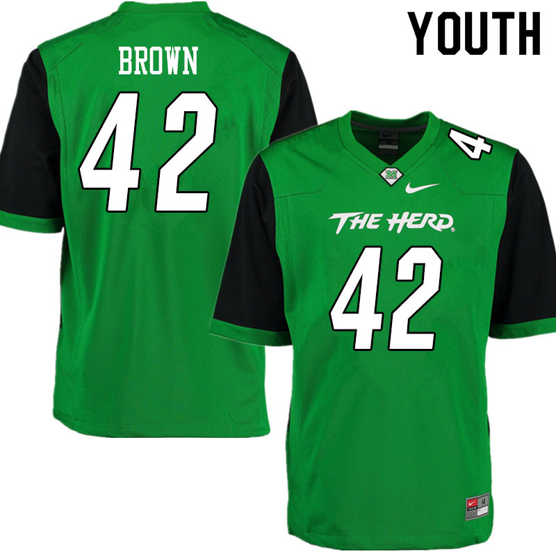 Youth #42 Eric Brown Marshall Thundering Herd College Football Jerseys Sale-Gren