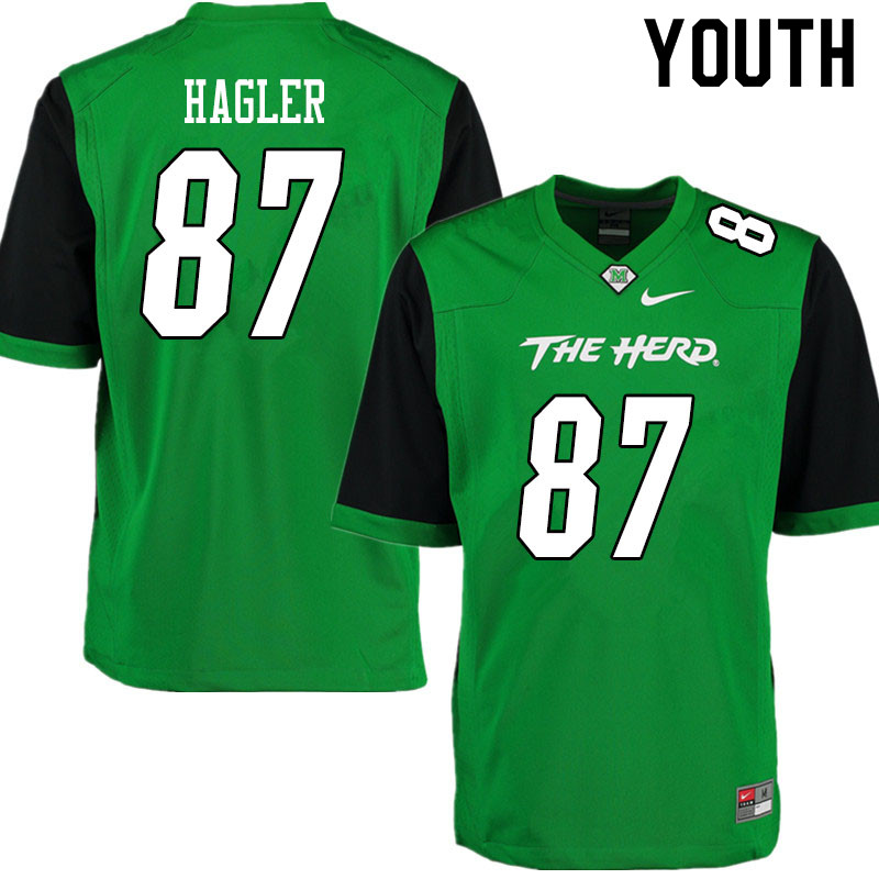 Youth #87 Hayden Hagler Marshall Thundering Herd College Football Jerseys Sale-Gren