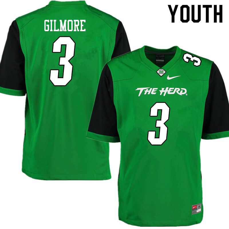 Youth #3 Steven Gilmore Marshall Thundering Herd College Football Jerseys Sale-Gren
