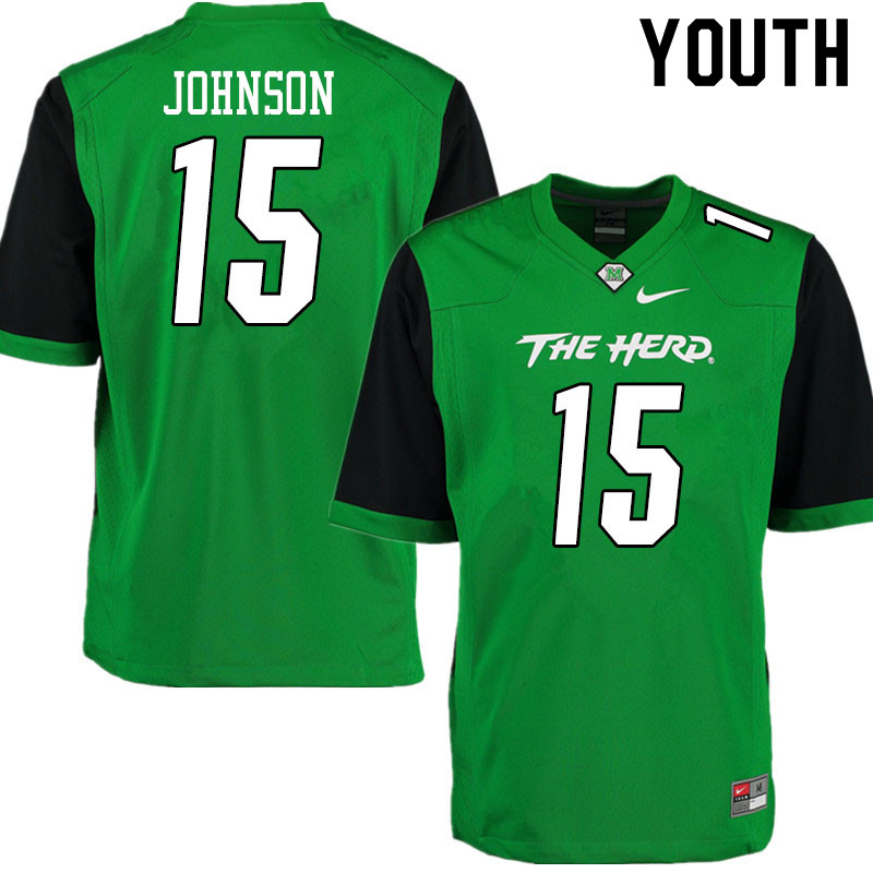 Youth #15 TJ Johnson Marshall Thundering Herd College Football Jerseys Sale-Gren