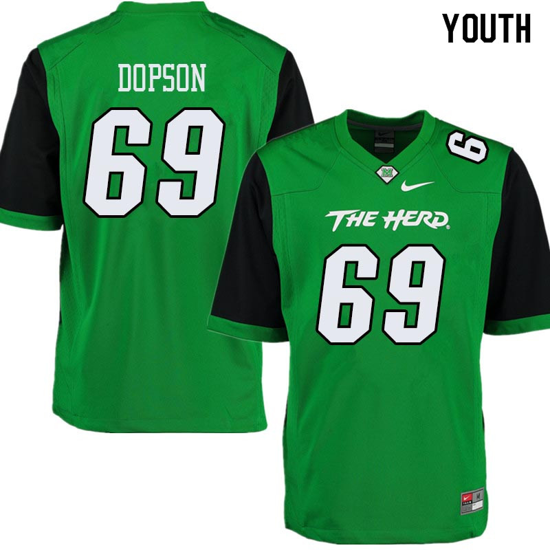Youth #69 Aaron Dopson Marshall Thundering Herd College Football Jerseys Sale-Green