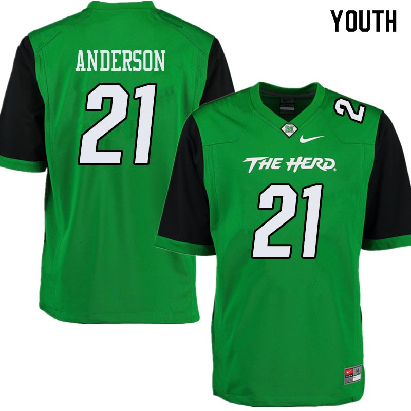 Youth #21 Anthony Anderson Marshall Thundering Herd College Football Jerseys Sale-Green