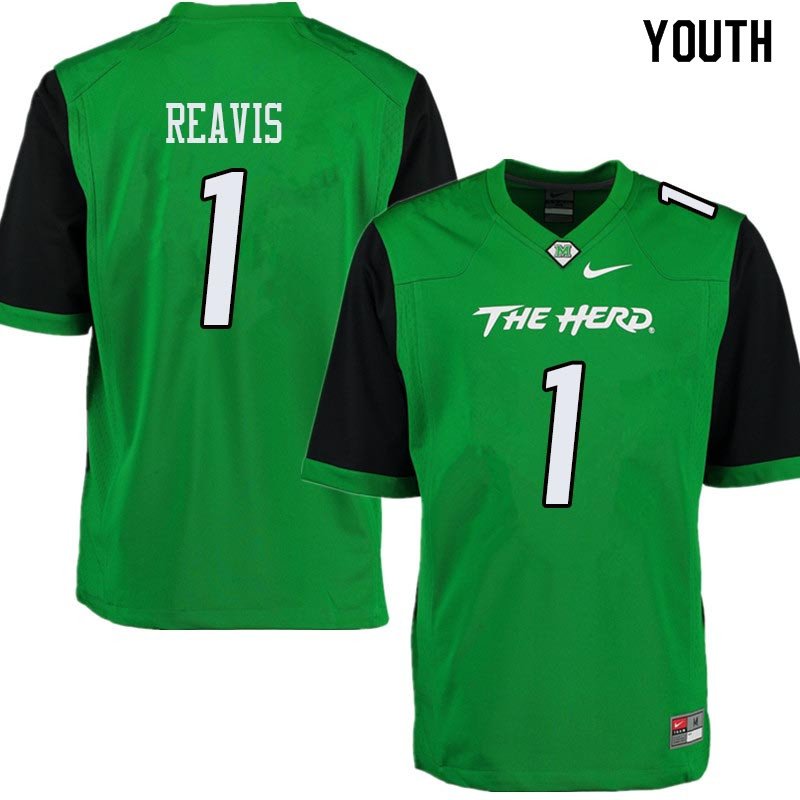 Youth #1 C.J. Reavis Marshall Thundering Herd College Football Jerseys Sale-Green