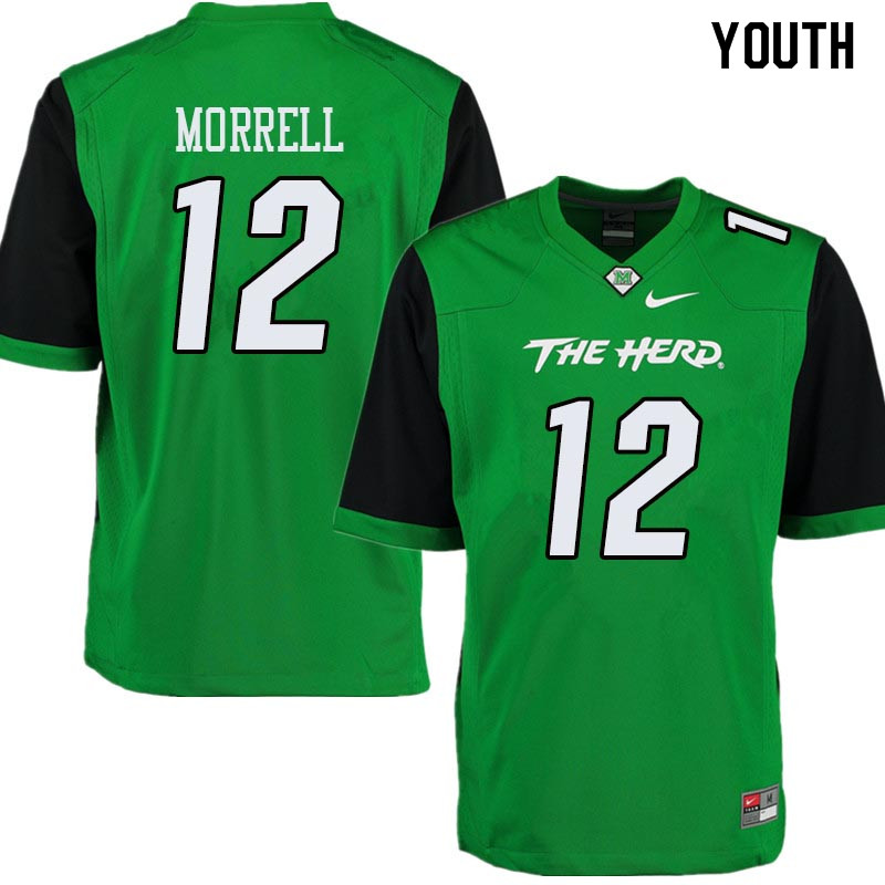Youth #12 Garet Morrell Marshall Thundering Herd College Football Jerseys Sale-Green