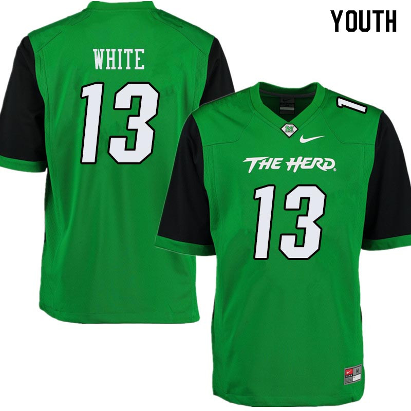 Youth #13 Jackson White Marshall Thundering Herd College Football Jerseys Sale-Green