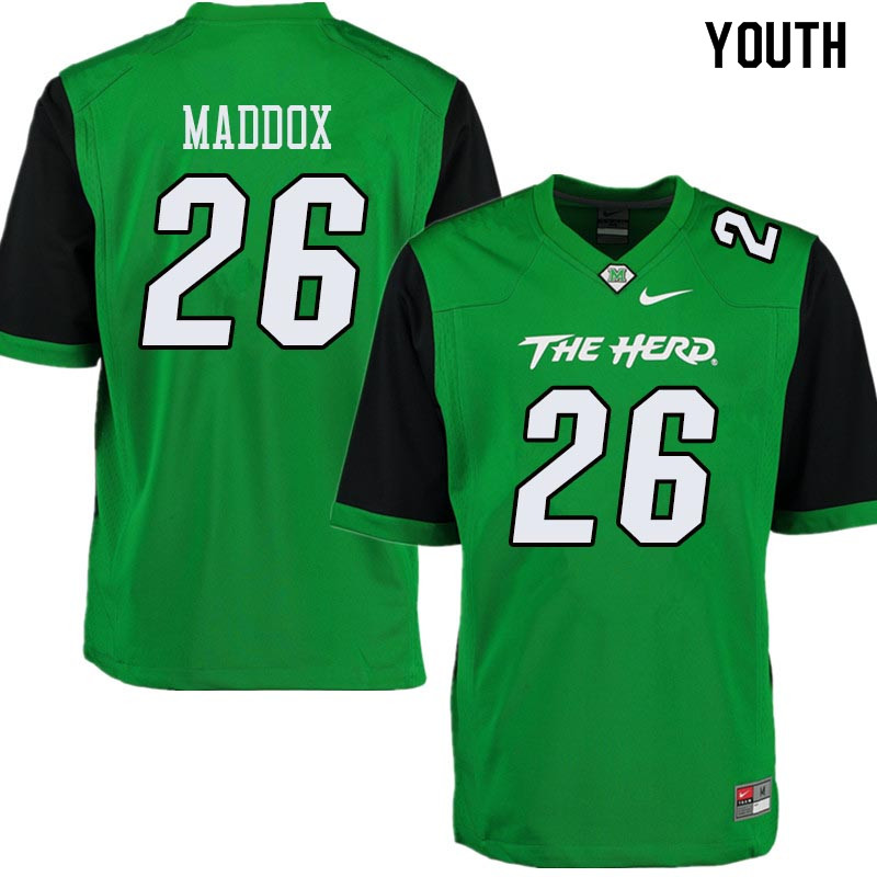 Youth #26 Jeremiah Maddox Marshall Thundering Herd College Football Jerseys Sale-Green
