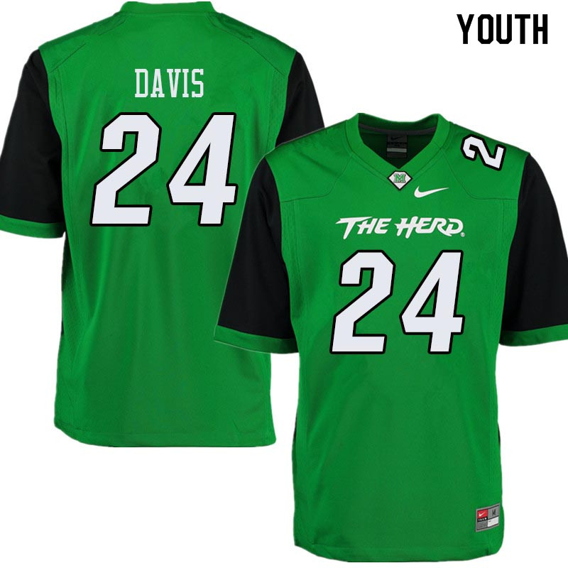 Youth #24 Keion Davis Marshall Thundering Herd College Football Jerseys Sale-Green