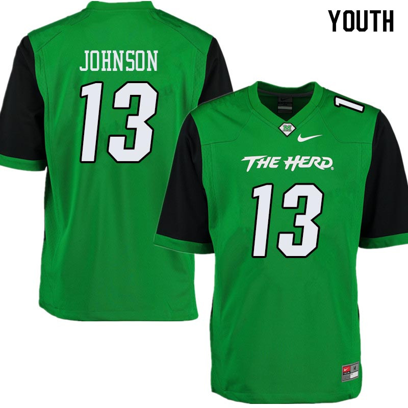 Youth #13 Nazeeh Johnson Marshall Thundering Herd College Football Jerseys Sale-Green