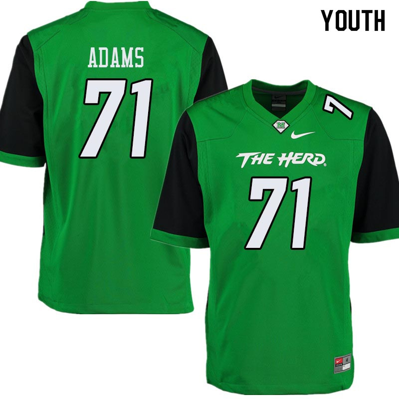 Youth #71 Tarik Adams Marshall Thundering Herd College Football Jerseys Sale-Green