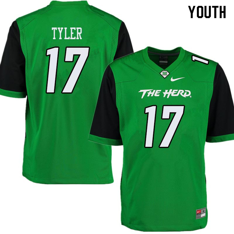 Youth #17 Ty Tyler Marshall Thundering Herd College Football Jerseys Sale-Green