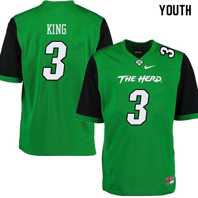 Youth #3 Tyler King Marshall Thundering Herd College Football Jerseys Sale-Green