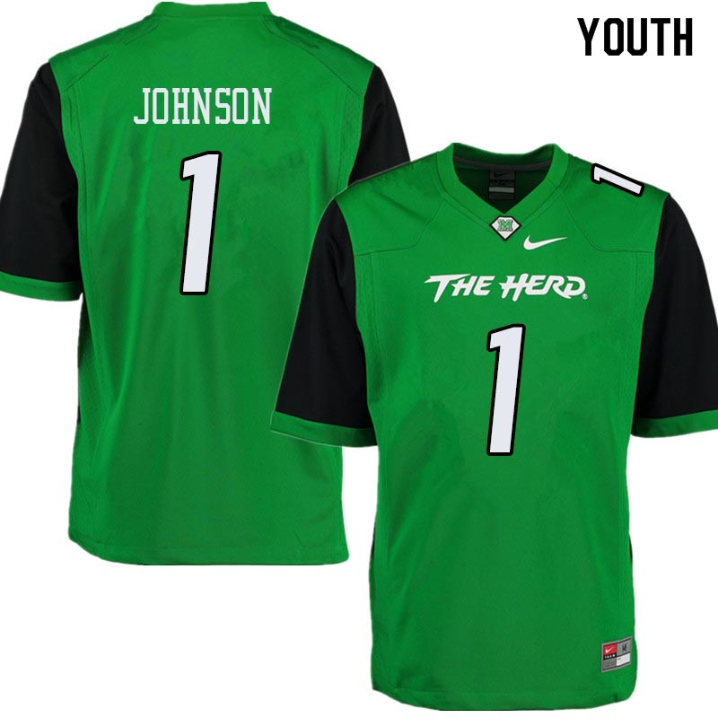 Youth #1 Willie Johnson Marshall Thundering Herd College Football Jerseys Sale-Green