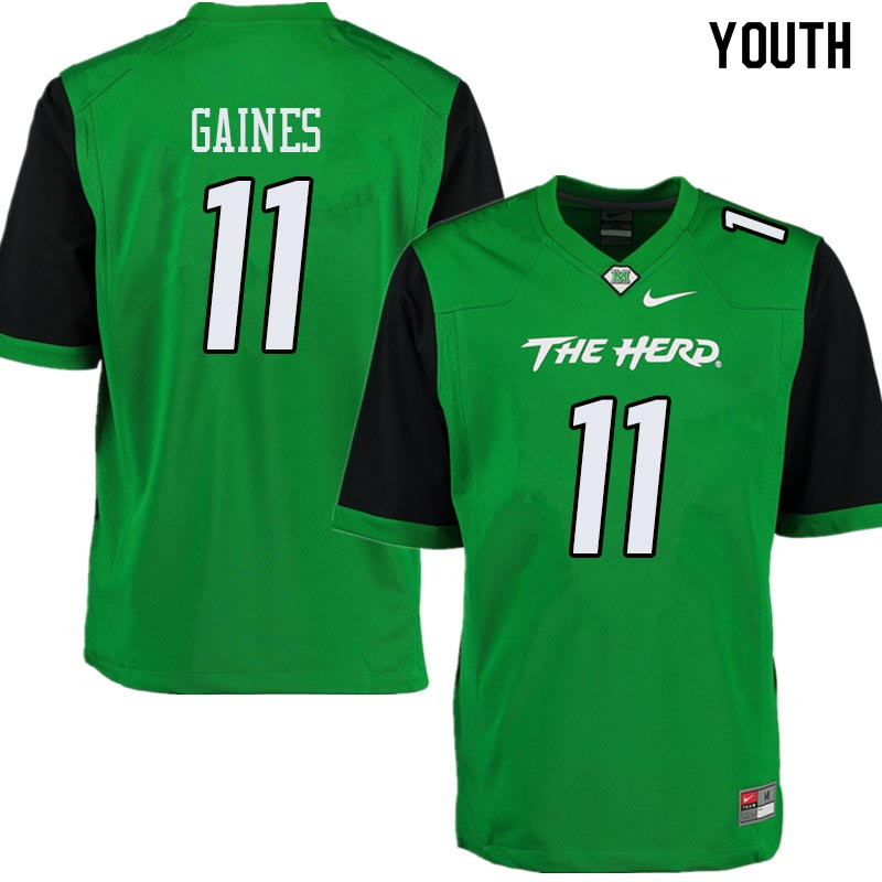 Youth #11 Xavier Gaines Marshall Thundering Herd College Football Jerseys Sale-Green