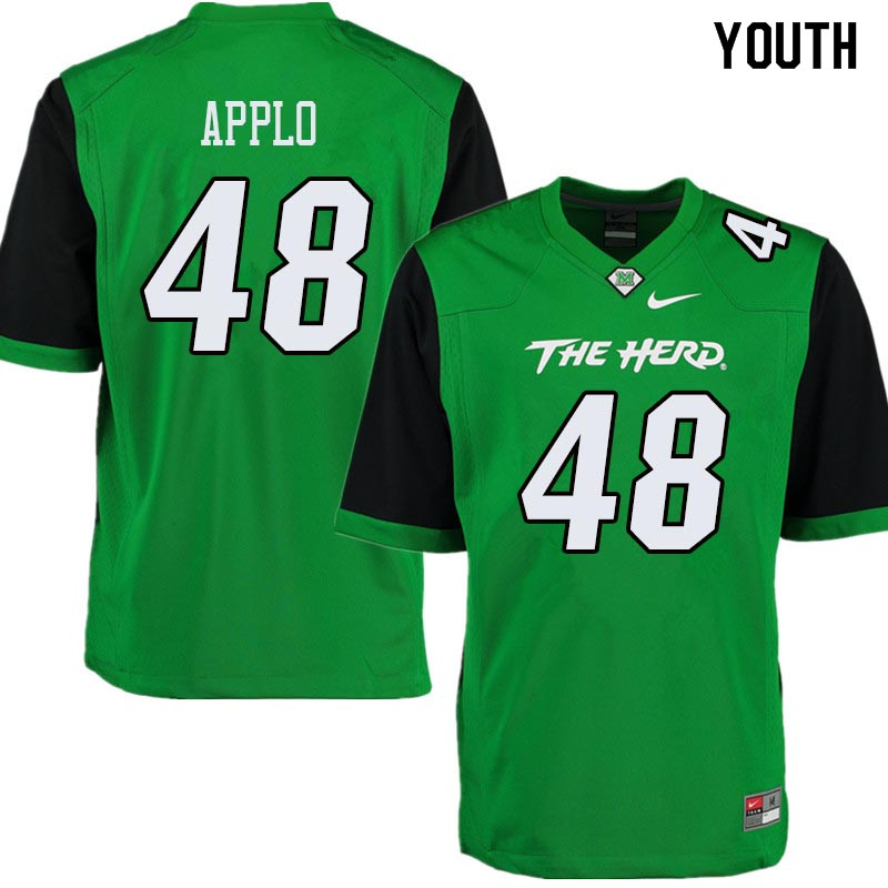 Youth #48 Zach Applo Marshall Thundering Herd College Football Jerseys Sale-Green